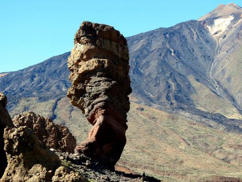 Wulkan Teide. W prawym górnym rogu widać krater,
